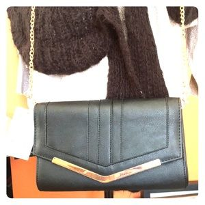 Black Purse or Clutch with Rose Gold Accent
